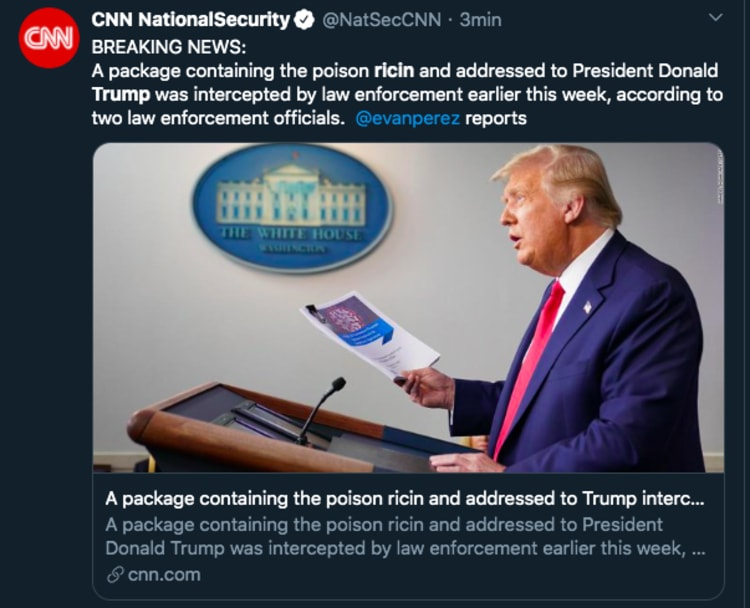 Trump ricin packet