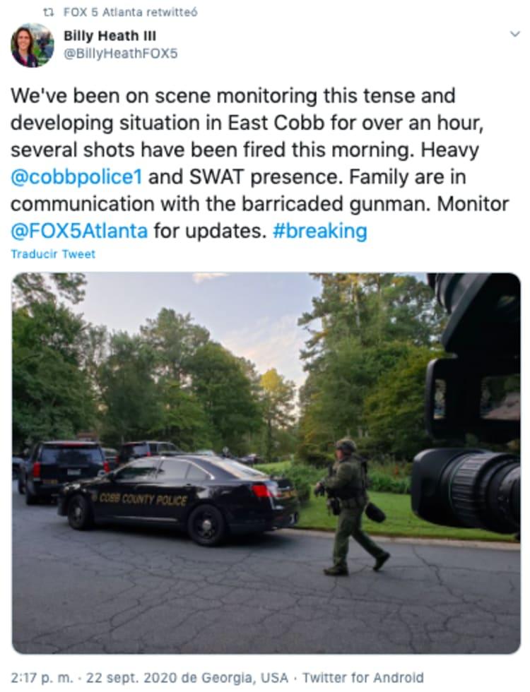 Tiroteo Atlanta: pistolero atrincherado en Condado de Cobb