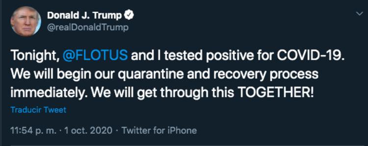 Trump Melania positive coronavirus