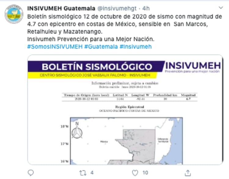 Sismo Guatemala de 5,1 sacude suroeste del país