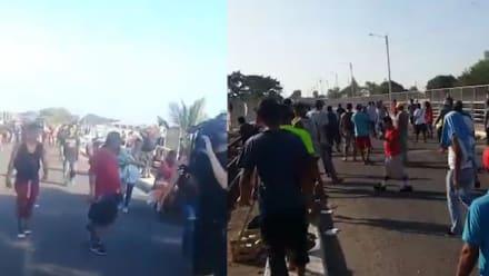 Atacan a inmigrantes con palos y piedras en pueblo fronterizo (VIDEO)