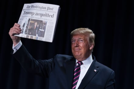 """Pu… mentira"": Trump celebra en la Casa Blanca el fin del impeachment"