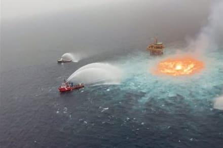 ¡Apocalipsis en el mar! Impactante incendio en línea submarina de Pemex en México provoca 'infierno' (VIDEO)