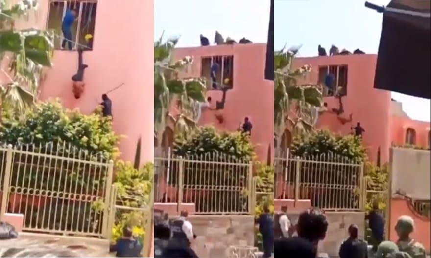 "Policía mexicano golpea a ladrón colgado como ""piñata"""