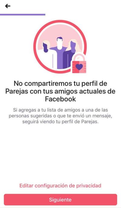 Facebook Parejas, privacidad
