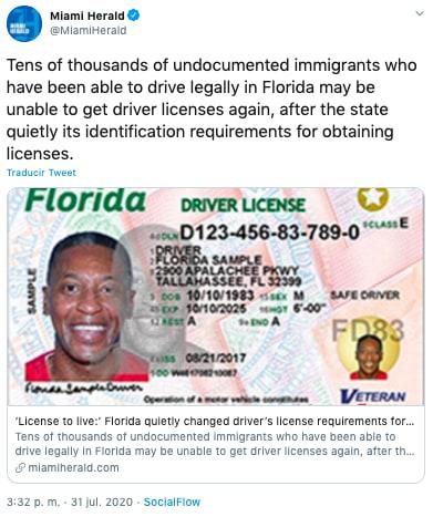Florida cambia requisitos de licencias de conducir para inmigrantes