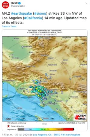 Sismo Pacoima: reportan sismo de 4.2 en California