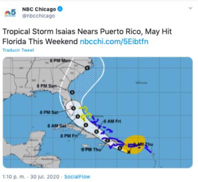 tormenta Isaías golpea Puerto Rico con viento y lluvia