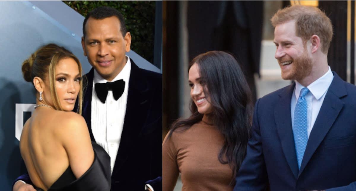 JLo y Álex Rodriguez hacen 'comprometedora' proposición al príncipe Harry y Megan Markle (FOTOS)