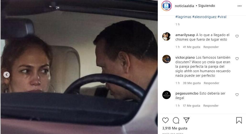 Filtran fotos de Jennifer Lopez llorando en plena discusión con Alex Rodríguez