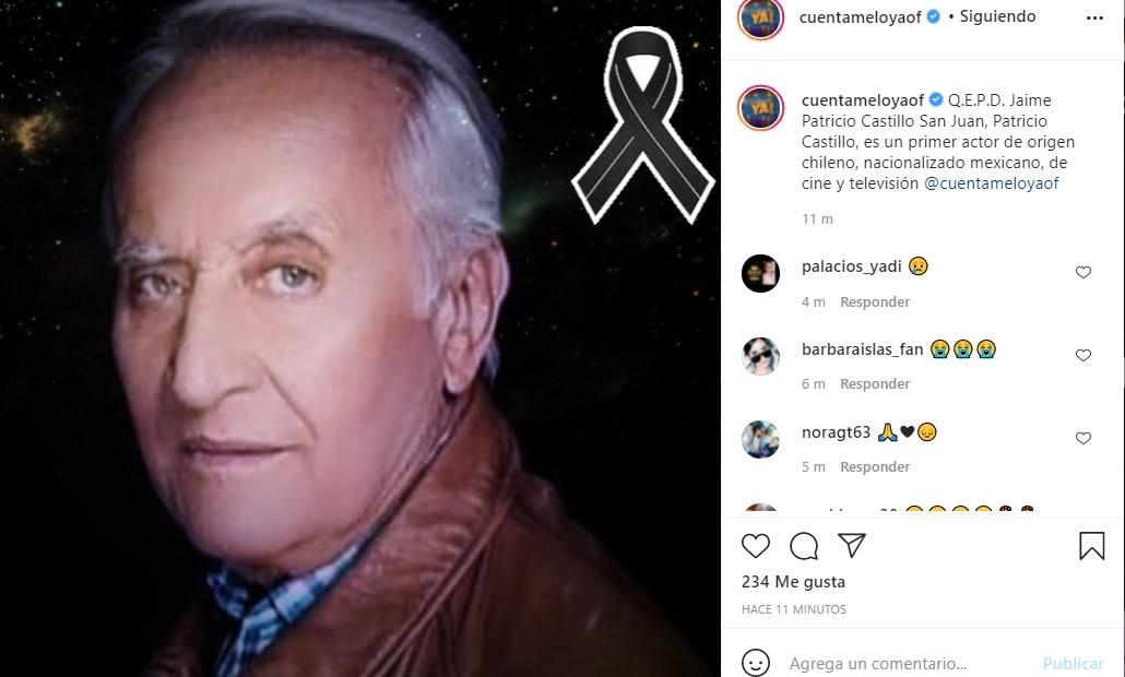 Muere el actor Patricio Castillo