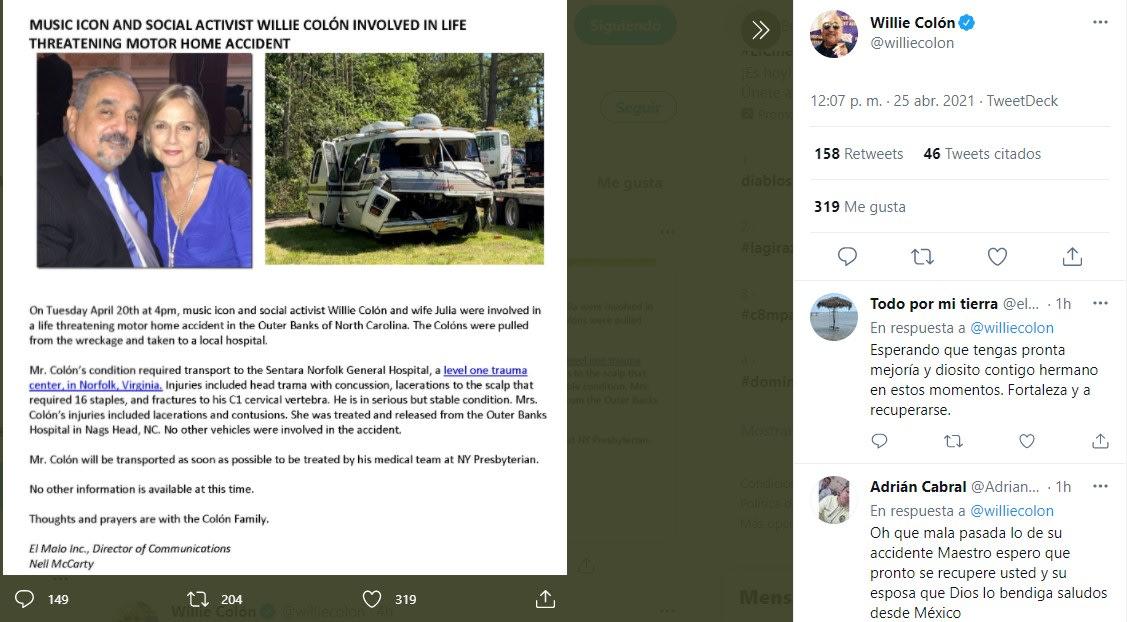 Willie Colon esta grave tras accidente de auto