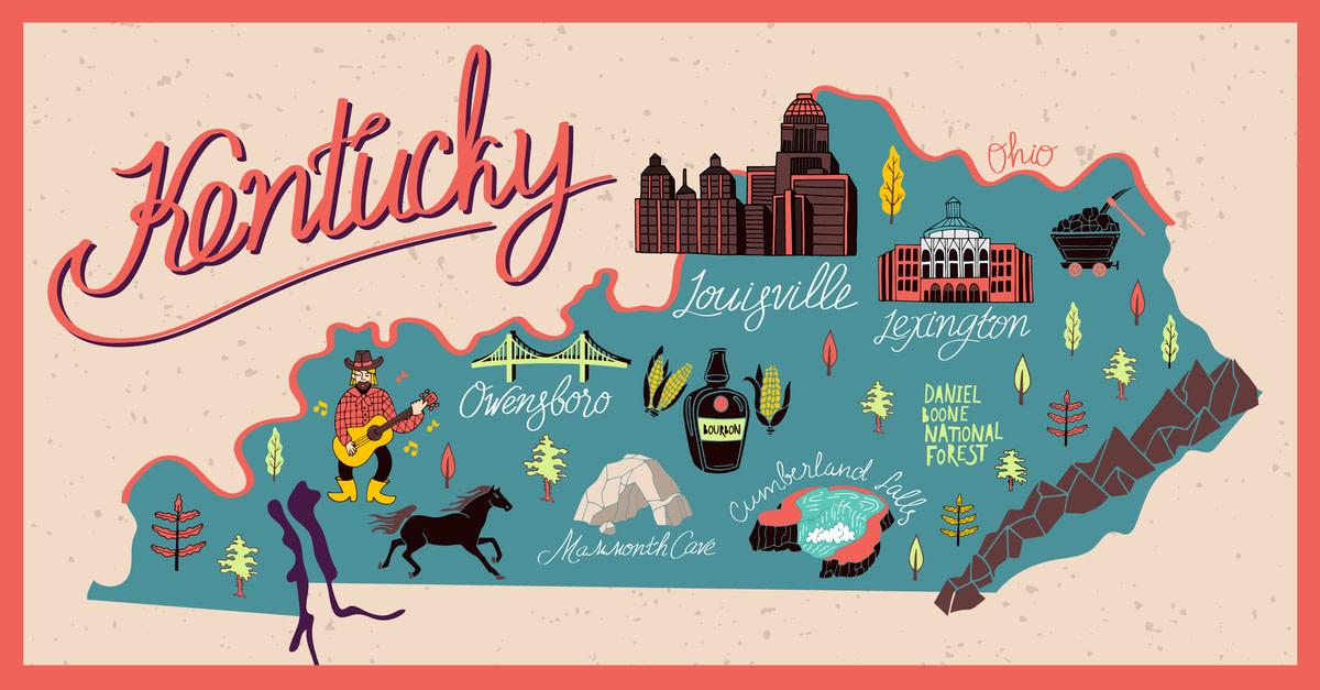 Mapa ilustrado del estado de Kentucky, Estados Unidos. Viajes y atracciones.