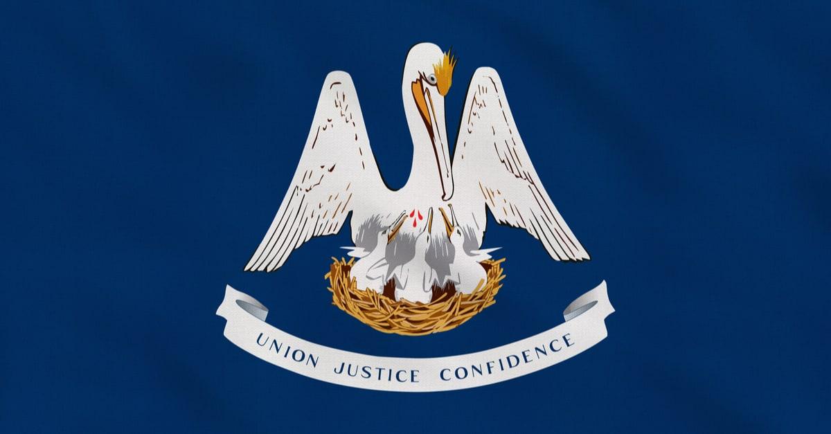 Bandera de tela en bruto del estado de Louisiana