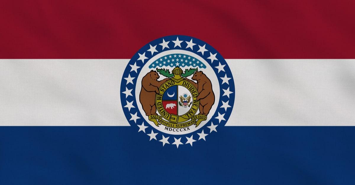 Bandera de tela en ruinas del estado de Missouri