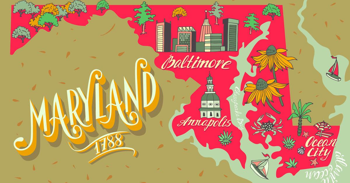 Mapa ilustrado de Maryland, Estados Unidos. Viajes y atracciones