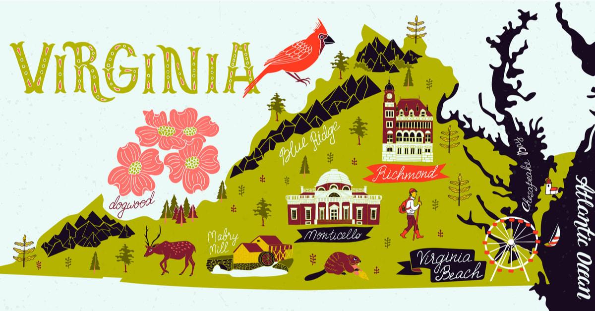 Mapa ilustrado de Virginia, Estados Unidos. Viajes y atracciones