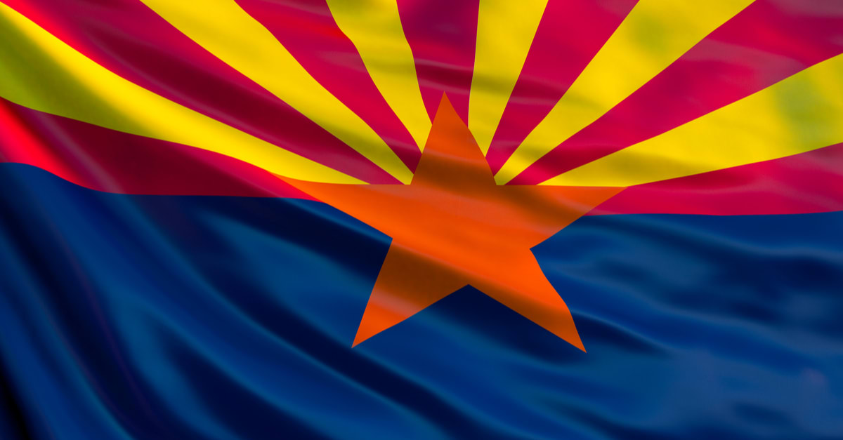Arizona state flag. Waving flag of Arizona state, United States of America.
