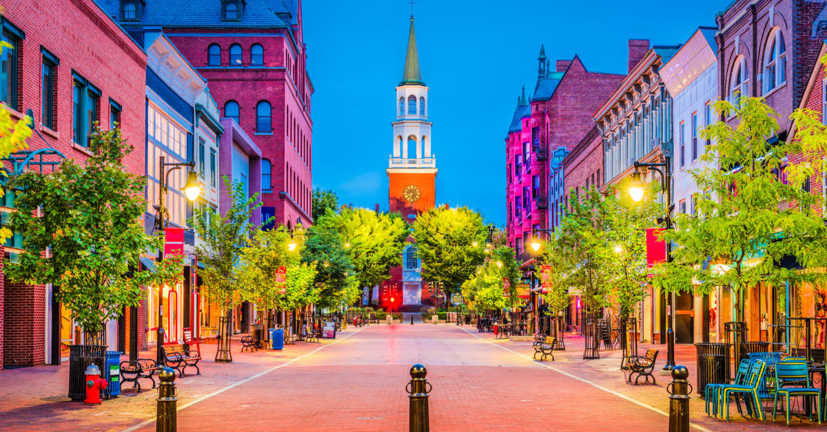Burlington, Vermont, EE.UU. en Church Street Marketplace.