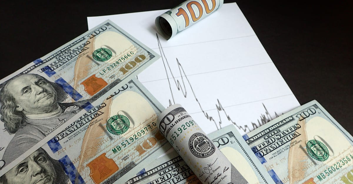 Money; US dollar banknote and graphs; Financial Trend Analysis concept