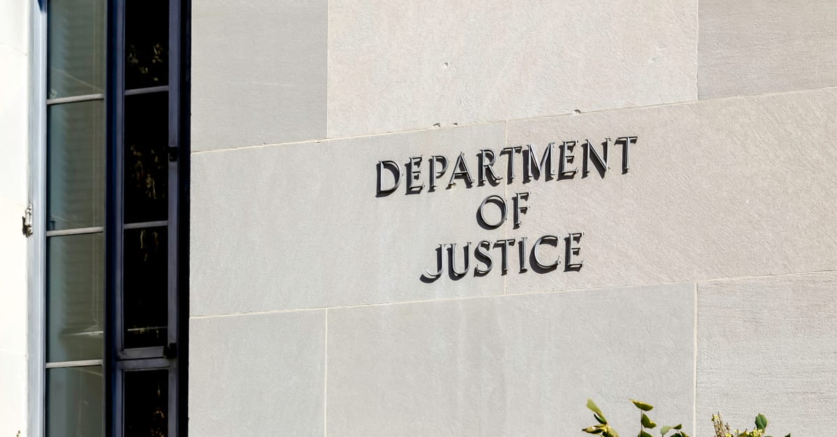 Sign of United States Department of Justice(DOJ) on their headquarters building in Washington, D.C. USA.