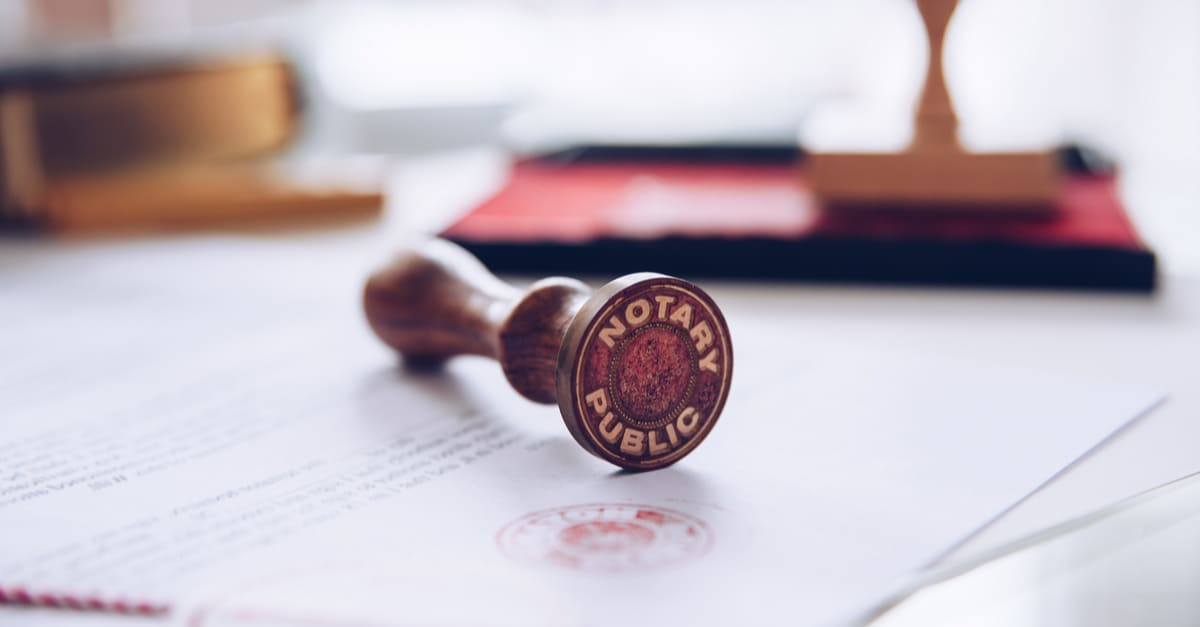 Notary stamp on a valid document.