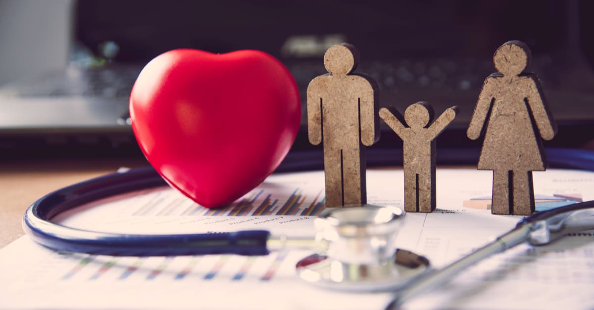 Medical Heart Headsets and Family Icons - Insurance Concepts to Care for Your Familys Medical Costs
