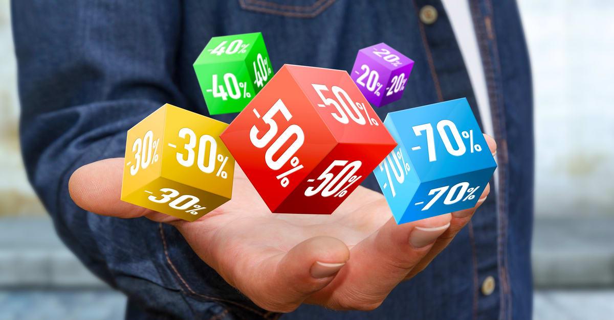 Businessman using modern application to shop online during sales 3D rendering