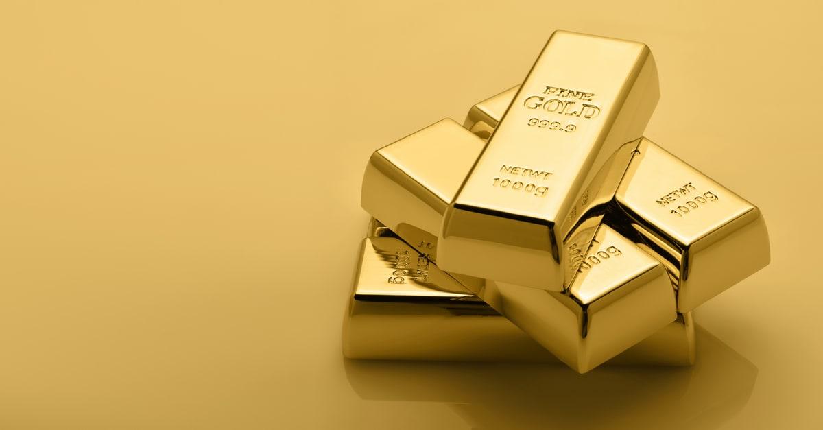 Gold bullion stack. Financial concept. Set of gold bars.