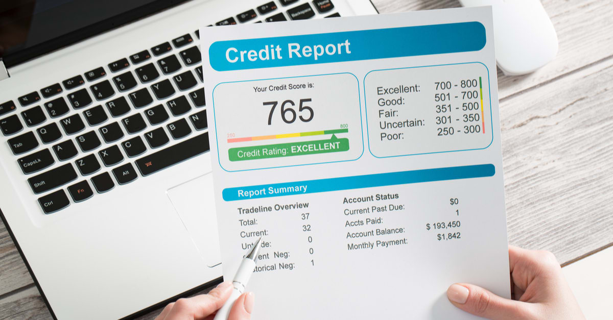Credito historial report credit score banking borrowing application risk form document loan business market concept