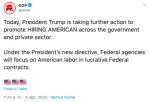 Contratación de estadounidenses sobre extranjeros, orden firmada por Trump