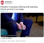 Trump da dinero como ofrenda a iglesia en las Vegas