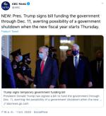 Trump firma proyecto de ley de financiación para evitar cierre de gobierno