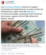 Remesas enviadas a México aumentan en agosto pese a la crisis