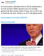 Encuesta latinos arroja ventaja a Biden por 34 puntos sobre Trump