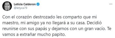 Muerte Padre Leticia Calderón, Lety Calderón