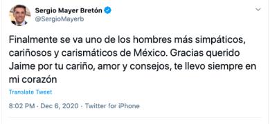 Muere Jaime Camil Garza papá de Jaime Camil