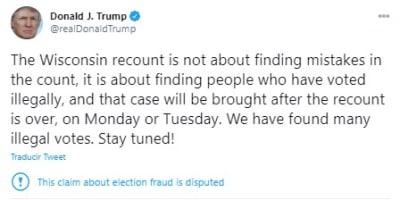 Trump votos ilegales Wisconsin, Donald Trump
