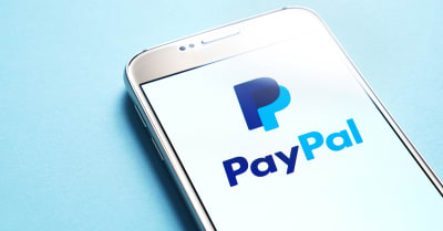 Paypal logo on smartphone screen