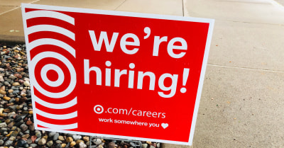 A Were Hiring sign for Target stores