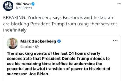 Mark Zuckerberg bloqueará cuentas de Facebook e Instagram de Trump de manera indefinida