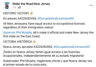 licencias profesionales Nueva Jersey