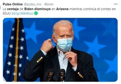 Ventaja Biden disminuye Arizona 1 Trump