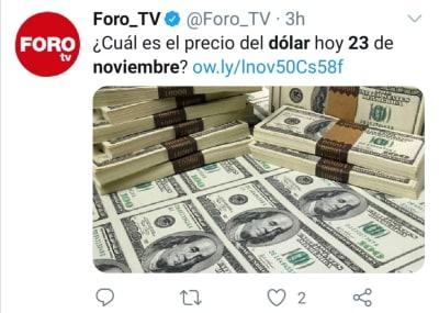 Peso mexicano 23 noviembre