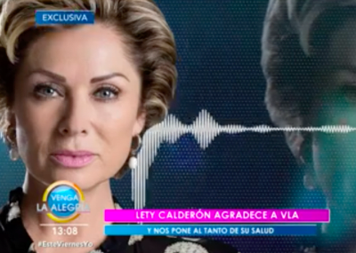 Leticia Calderón hospitalizada coronavirus (YouTube Venga la Alegría)