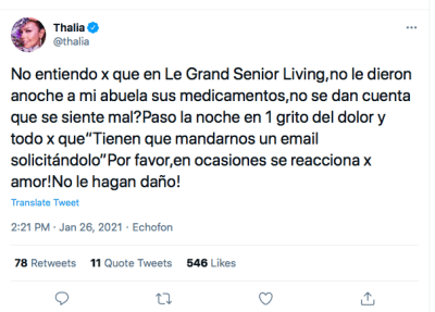 Thalía abuela, Laura Zapata Eva Mange (Twitter)