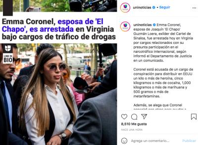 Emma Coronel, esposa del Chapo detenida (Instagram)