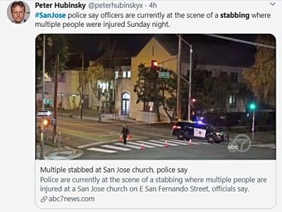 2 muertos apuñalamiento California en iglesia de San José