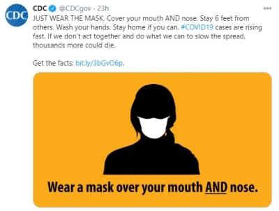 CDC mensaje usar mascarilla, coronavirus, Estados Unidos