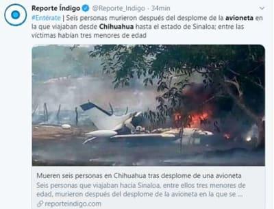 Mueren seis avioneta Chihuahua